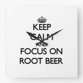 Keep Calm and focus on Root Beer Wall Clocks