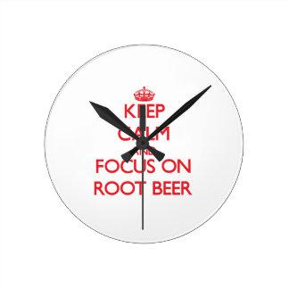 Keep Calm and focus on Root Beer Wallclocks