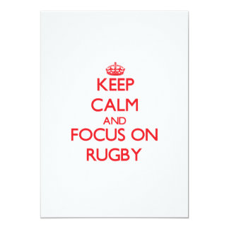 Keep Calm and focus on Rugby 5x7 Paper Invitation Card