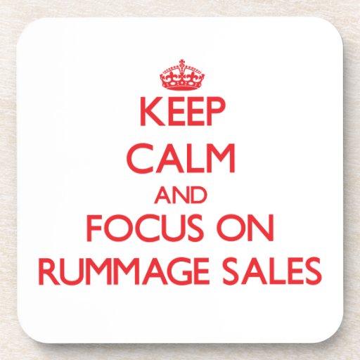 Keep Calm and focus on Rummage Sales Beverage Coasters