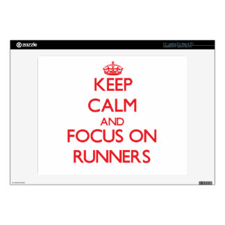 """Keep Calm and focus on Runners 14"""" Laptop Decals"""