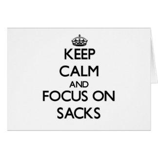 Keep Calm and focus on Sacks Greeting Cards