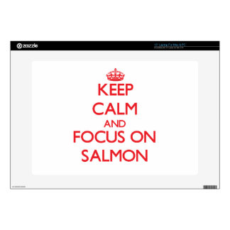 "Keep Calm and focus on Salmon 15"" Laptop Skin"