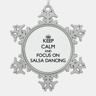 Keep Calm and focus on Salsa Dancing Snowflake Pewter Christmas Ornament