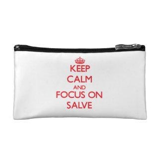 Keep Calm and focus on Salve Cosmetics Bags