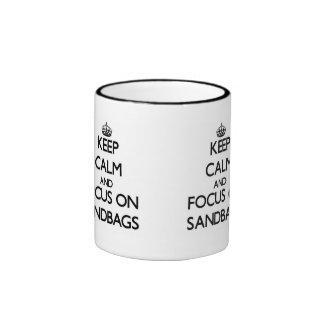 Keep Calm and focus on Sandbags Ringer Coffee Mug