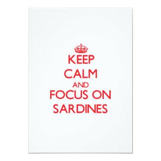 Keep Calm and focus on Sardines 5x7 Paper Invitation Card