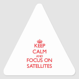 Keep Calm and focus on Satellites Triangle Sticker