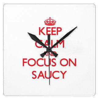 Keep Calm and focus on Saucy Wallclock