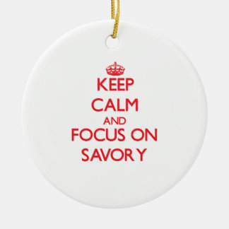Keep Calm and focus on Savory Double-Sided Ceramic Round Christmas Ornament