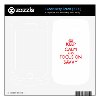 Keep Calm and focus on Savvy BlackBerry Torch Skins