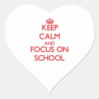 Keep Calm and focus on School Heart Sticker