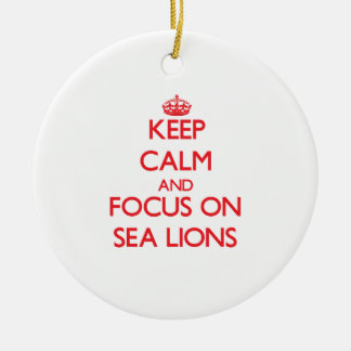Keep calm and focus on Sea Lions Ornament