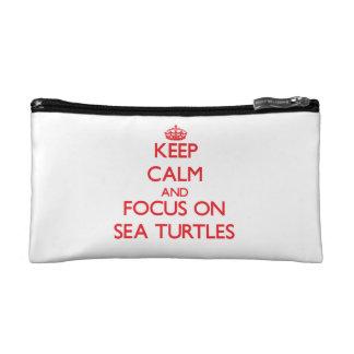 Keep calm and focus on Sea Turtles Makeup Bag
