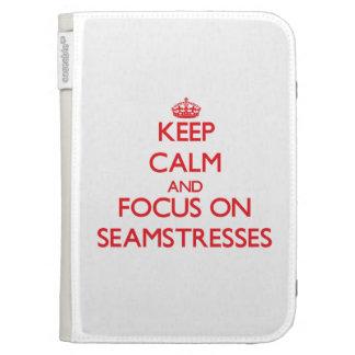 Keep Calm and focus on Seamstresses Kindle Folio Case