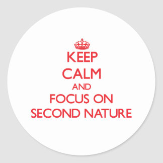 Keep Calm and focus on Second Nature Classic Round Sticker