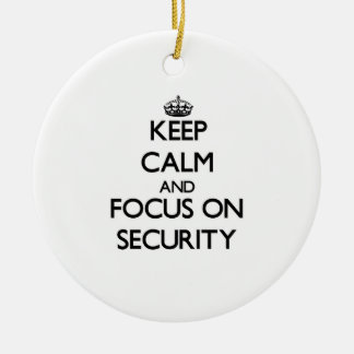Keep Calm and focus on Security Double-Sided Ceramic Round Christmas Ornament