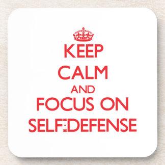 Keep Calm and focus on Self-Defense Coaster