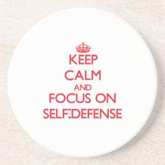 Keep Calm and focus on Self-Defense Beverage Coaster