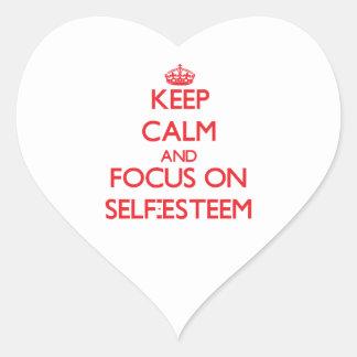 Keep Calm and focus on Self-Esteem Heart Sticker
