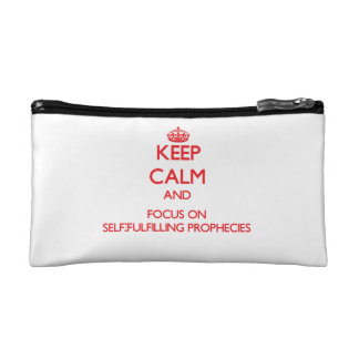 Keep Calm and focus on Self-Fulfilling Prophecies Makeup Bags