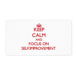 Keep Calm and focus on Self-Improvement Shipping Label