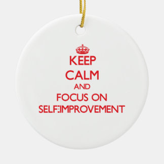Keep Calm and focus on Self-Improvement Double-Sided Ceramic Round Christmas Ornament