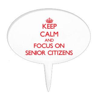 Keep Calm and focus on Senior Citizens Cake Picks