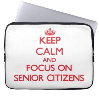 Keep Calm and focus on Senior Citizens Laptop Computer Sleeve