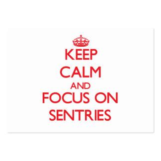Keep Calm and focus on Sentries Business Card Templates