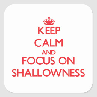 Keep Calm and focus on Shallowness Square Stickers