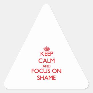 Keep Calm and focus on Shame Triangle Sticker