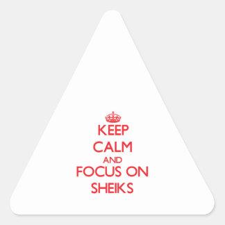 Keep Calm and focus on Sheiks Triangle Sticker