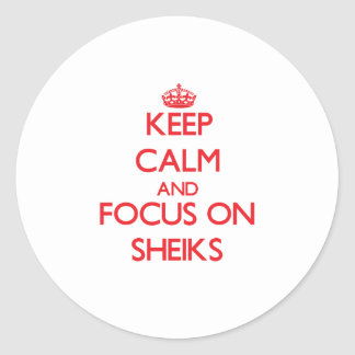 Keep Calm and focus on Sheiks Classic Round Sticker