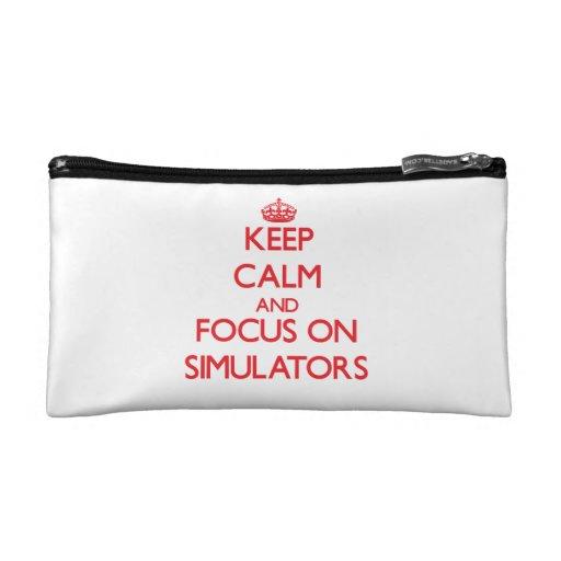 Keep Calm and focus on Simulators Cosmetics Bags
