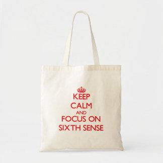 Keep Calm and focus on Sixth Sense Canvas Bags