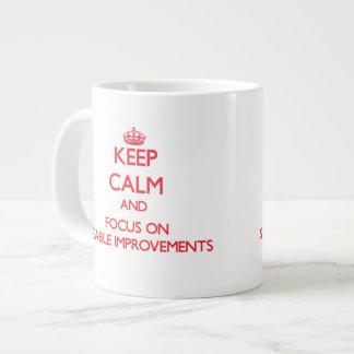 Keep Calm and focus on Sizable Improvements 20 Oz Large Ceramic Coffee Mug