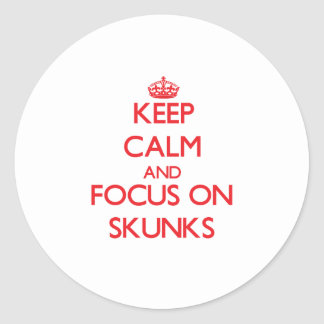 Keep Calm and focus on Skunks Classic Round Sticker