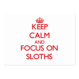 Keep calm and focus on Sloths Large Business Cards (Pack Of 100)