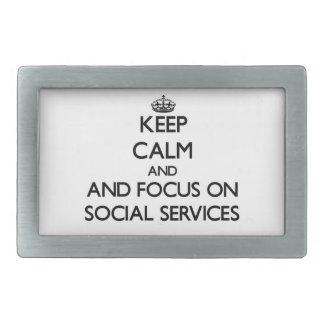 Keep calm and focus on Social Services Rectangular Belt Buckles