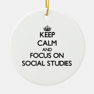 Keep Calm and focus on Social Studies Double-Sided Ceramic Round Christmas Ornament
