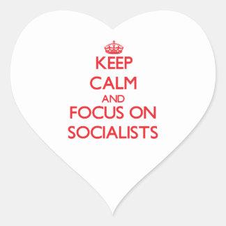 Keep Calm and focus on Socialists Heart Sticker