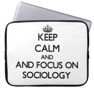 Keep calm and focus on Sociology Computer Sleeve