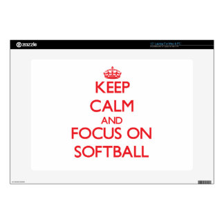 """Keep calm and focus on Softball Decal For 15"""" Laptop"""