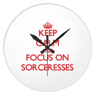 Keep Calm and focus on Sorceresses Wallclocks