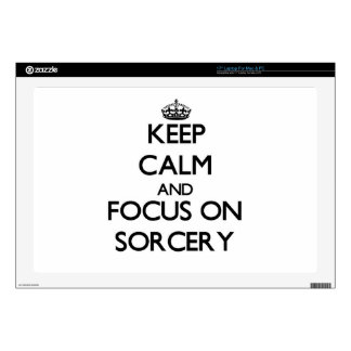 """Keep Calm and focus on Sorcery 17"""" Laptop Decal"""