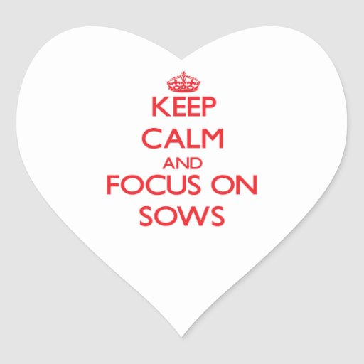 Keep Calm and focus on Sows Heart Sticker