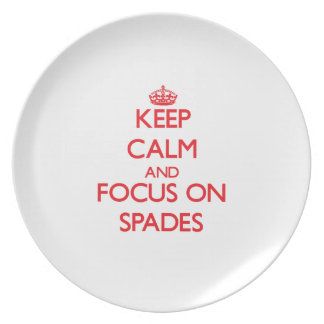 Keep Calm and focus on Spades Party Plates