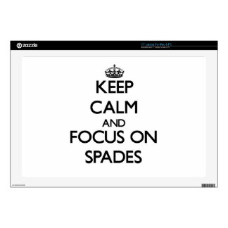 Keep Calm and focus on Spades Laptop Skin