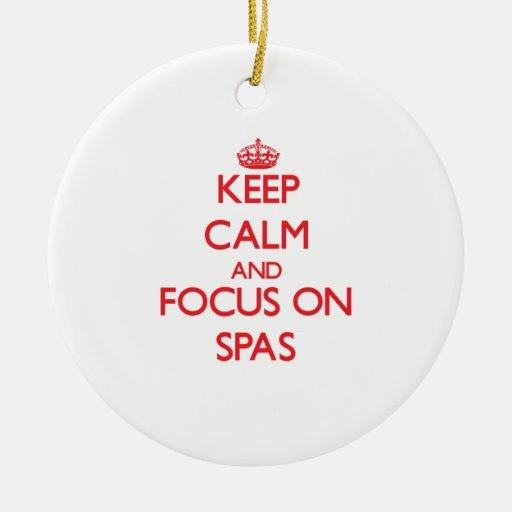 Keep Calm and focus on Spas Christmas Tree Ornament